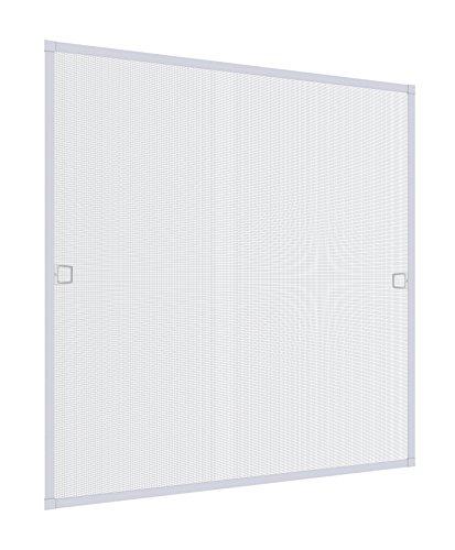 Windhager Insektenschutz Spannrahmenfenster Plus, Fliegengitter, Alurahmen für Fenster, individuell kürzbar, 100 x 120 cm weiß, 04326