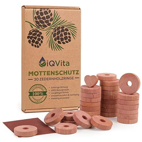 Natürlicher Mottenschutz aus Zedernholz – 30 Mottenringe – 100% Naturprodukt – Hervorragende Mottenabwehr für Kleiderschrank – BIO – Mottenfalle - Chemiefrei