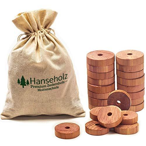 Hanseholz 40x Natürlicher Bio Mottenschutz und Baumwollbeutel - 100% Bio Naturprodukt - Langlebige und chemiefreie Mottenabwehr gegen Kleidermotten - Mottenfalle im Kleiderschrank