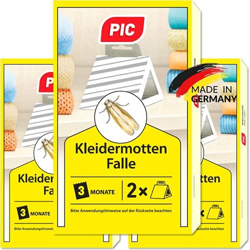 PIC Kleidermotten-Falle – Dreierpack = 6 Stück – Mittel für Kleidermotten, geeignet für den Kleiderschrank und sonstige Lagerung von Kleidung
